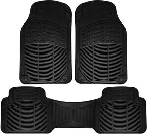 Truck Floor Mats For Toyota Tundra 3pc Set All Weather Rubber Semi Custom Black