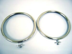 1928 1929 Ford Model A Car Stainless Headlight Ring Rim 28 29 Pair Set Of 2