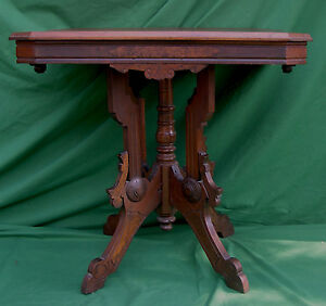 Pick Up Only Victorian Walnut Parlor Table With Center Post Burl Medallions