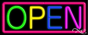 Open Multicolor Handcrafted Real Glasstube Neon Sign
