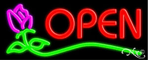 Open Rose Handcrafted Real Glasstube Neon Sign
