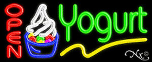 Yogurt Open Handcrafted Real Glasstube Neon Sign