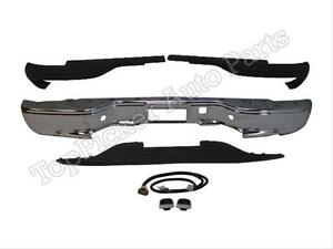 For 99 07 Chevy Silverado Stepside Rear Bumper Bar Chr Pads License Light 7pc
