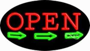 Open Handcrafted Real Glasstube Flashing Neon Sign