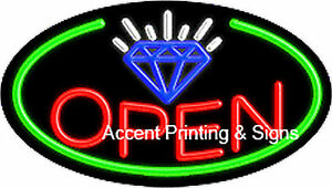 Jewelry Open Handcrafted Real Glasstube Flashing Neon Sign