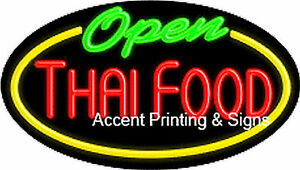 Thai Food Open Handcrafted Real Glasstube Flashing Neon Sign