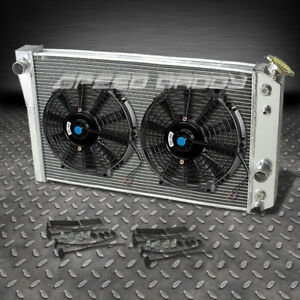 3 Row Aluminum Racing Radiator 2 X 10 Black Fans 1982 2002 Chevrolet S10 S 10 V8