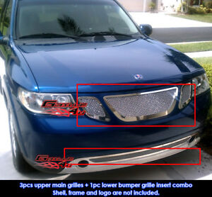Fits 07 10 Saab 9 7x Stainless Steel Mesh Grille Combo