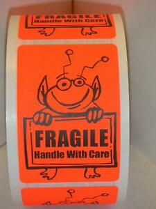 Fragile Handle With Care Cute Red Alien Holding Sign 2x3 Sticker Label 250 rl