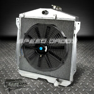 3 Row Core Aluminum Racing Radiator 14 Fan 46 48 Chevy Fleetline Stylemaster