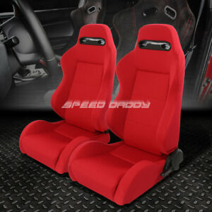 2 Type R Lightweight Reclinable Woven Upholstery Racing Seat Slider Red Stitches