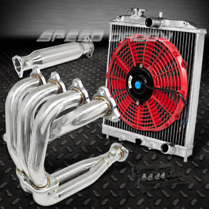 Racing Manifold Header Piping Exhaust Radiator Red Fan 92 00 Civic Sohc D15 D16