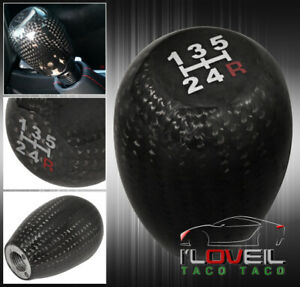 5 Speed Real Jdm Carbon Fiber Shift Knob Mt Manual Gear Transmission Mitsubishi