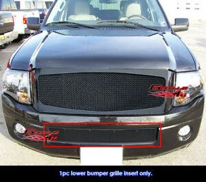 Fits 2007 2014 Ford Expedition Bumper Black Stainless Steel Mesh Grille Grill