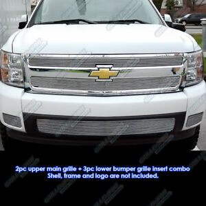 Fits 2007 2013 Chevy Silverado 1500 Billet Grille Grill Insert Combo