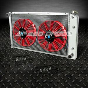 3 Row Aluminum Racing Radiator 2 10 Red Fan 73 80 Chevy Small Block Sbc L6 V8