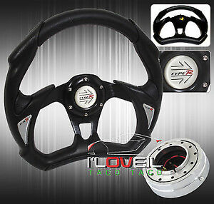 320mm Racing Black Steering Wheel W Slim Detachable Quick Release Blue Horn