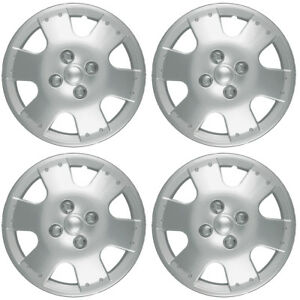 4 Pc Hubcaps Fits 00 02 Toyota Echo 14 Silver Snap On Replacement Wheel Cover