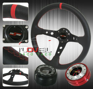 350mm Detachable Steering Wheel Kit Red Quick Release Hub Adapter Button