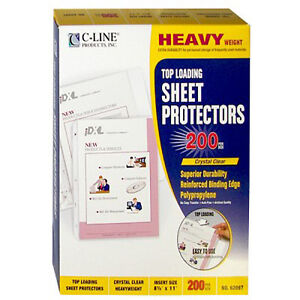 New C line Heavy Duty 3 hole Punched Sheet Protectors 200pk Free Shipping