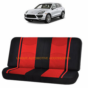 Red Black Poly Mesh Net 2pc Split Bench Seat Cover For Porsche Cayenne