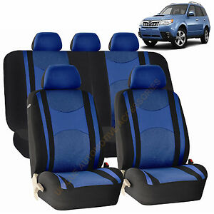 Blue Front Back Split Bench Seat Covers 9pc Set For Subaru Impreza