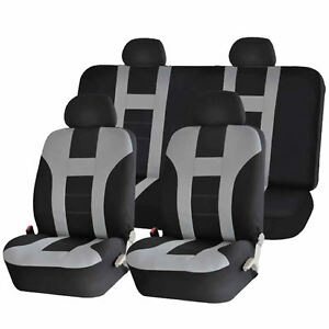 Gray Black Double Stitch Seat Covers 8pc Set For Scion Tc Xb