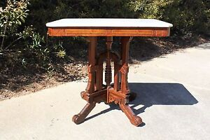 Large Ornate Walnut Victorian Eastlake Marble Top Center Table Ca 1880
