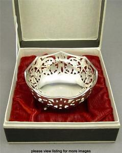 Vintage 900 Coin Silver Reticulated Pierced Footed Dish Bowl With Box