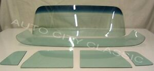 1955 1959 Chev Gmc Glass Windshield Vent Door Deluxe Back Set Green Tint