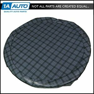 14 Gray Plaid Vinyl Spare Tire Cover For Buick Chevy Olds