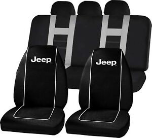 Premium Black High Back Seat Covers Gray Universal Fit Bench Seat Cover For Jeep