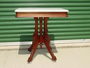 Fine Walnut Victorian Marble Top Table W Clover Base Ca 1870