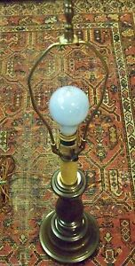 Vintage Mid Century Stiffel Turned Brass Candlestick Table Lamp Not Polished