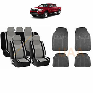 13pc Gray Mesh Seat Covers Split Bench Black Rubber Mats For Truck 3049