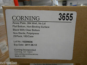 1 Box Of 25 Corning 384 Well Black With Clear Bottom Microplate 3655