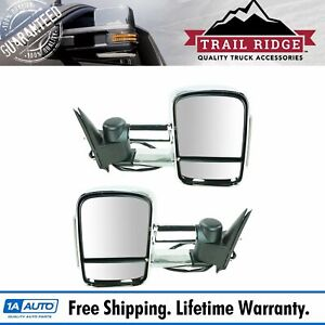 Trail Ridge Towing Mirror Power Heated Signal Side Chrome Pair Set For Chevy Gmc