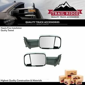 Trail Ridge Towing Mirror Power Heated Flip Up Chrome Pair For Dodge Ram Pickup