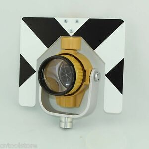 Yellow Color Single Prism With Bag For Total Station Black And White Target 5 8