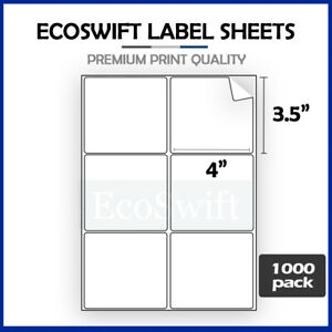 6000 4 X 3 1 3 Laser ink Address Shipping Self adhesive Labels 6 Per Sheet