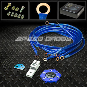 Nrg Car truck Battery Electronic Copper Ground earth Wire Cable System Kit Blue