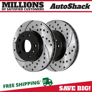 Front Pair 2 Drilled Slotted Brake Rotors 5 Stud Fits 06 2012 Chevrolet Impala