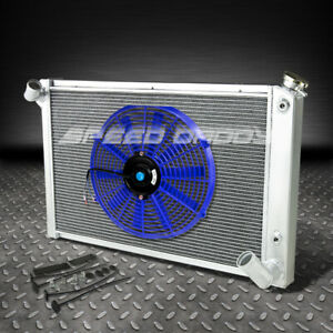 3 Row Aluminum Racing Radiator 14 Blue Fan 68 82 Chevy Sb Corvette 5 0 5 7 7 4