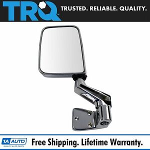 Trq Door Mounted Chrome Manual Mirror L Driver Side Left For 87 02 Jeep Wrangler