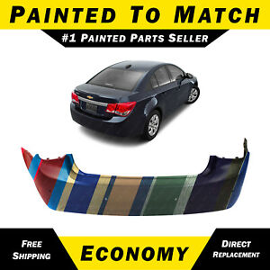New Painted To Match Rear Bumper Cover For 2011 2015 Chevy Cruze W Park Assist