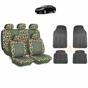 13pc Green Camo 2 Tone Seat Covers Black Rubber Floor Mats Set For Cars 1762