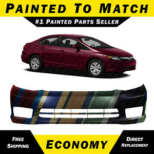 New Painted To Match Front Bumper Cover For 2012 Honda Civic Sedan Ex Ex L Si