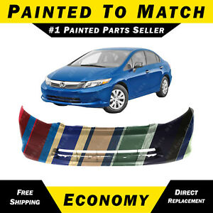 New Painted To Match Front Bumper Cover For 2012 Honda Civic Sedan Without Fog