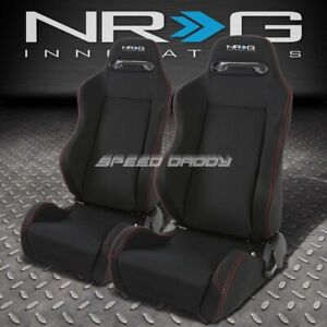 2 X Nrg Type R Fully Reclinable Racing Seat Seats Adjustable Slider Black Stitch