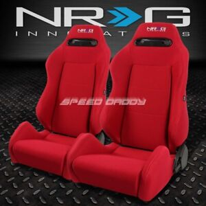 2 X Nrg Type r Fully Reclinable Racing Seat seats adjustable Slider Red stitches